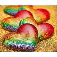 rainbow heart love Diamond Embroidery painting 5D diamond painting Cross Stitch picture Rhinestones diamond mosaic HYY