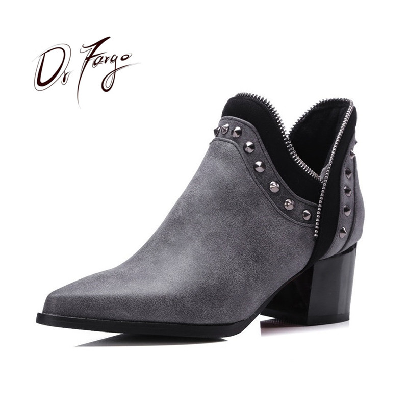 DRFARGO New Spring Autumn Winter Fashion Boots Block High Heels women Leather Ankle Boots Sexy Pointed Toe Rivets Martin Shoes brand rivets patchwork ankle boots hidden wedges platform martin boots high heels pointed toe spring autumn boots zapatos mujer