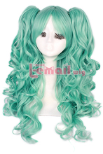 65cm Long Teal Green Clip On Ponytail Wavy Lolita Cospaly Wigs