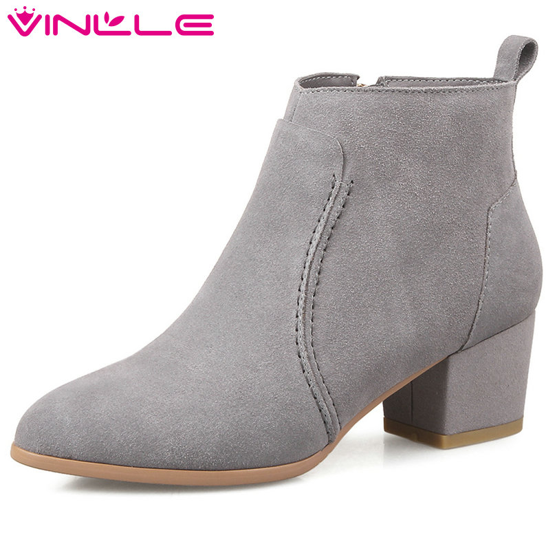 VINLLE 2018 Women Boots Shoes Ankle Boots Square Med Heel Pointed Toe Western Style Black Ladies Motorcycle Shoes Size 34-39 vinlle women boots square high heel western style elastic band solid ankle boots round toe platform ladies boots size 34 43