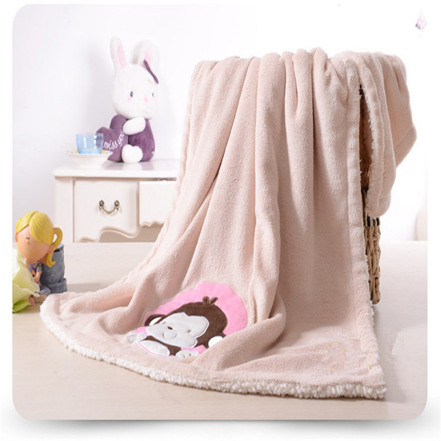 2017 Super Soft High Quality Baby Kitchens and Coral Wool Four Seasons Available Outdoor Swaddle Wrap Monkey Cartoon