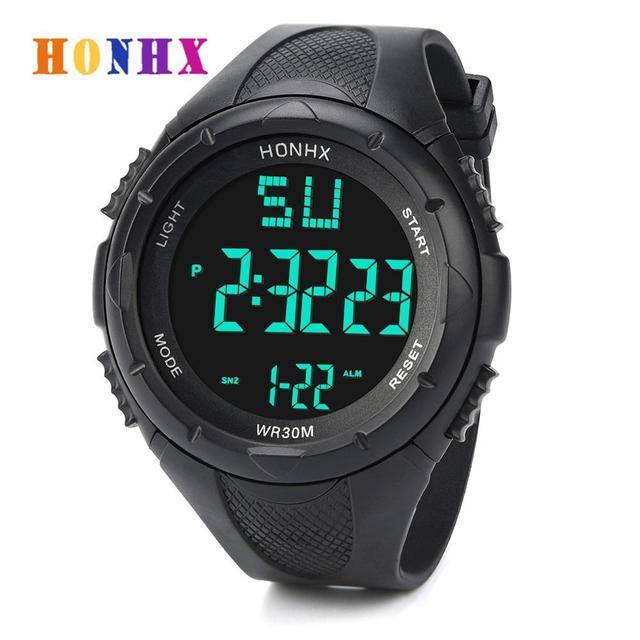 HONHX Luxury Brand Mens Sports Watch Waterproof Digital LED Military Watch Child