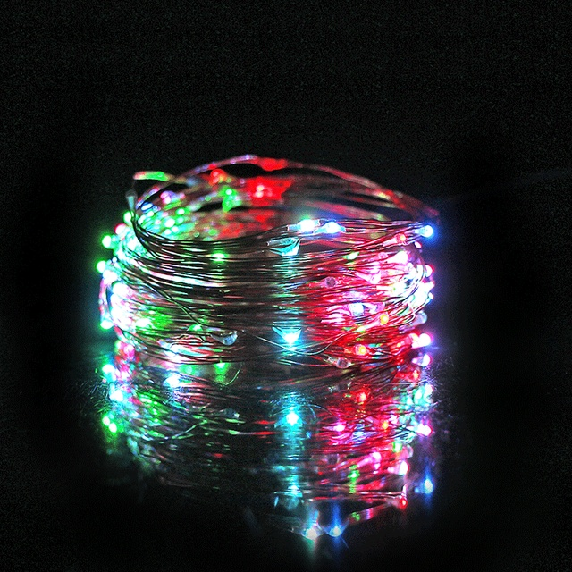 Axeshine 10m 100 leds waterproof led string light diy seven color changeable holiday wedding light christmas