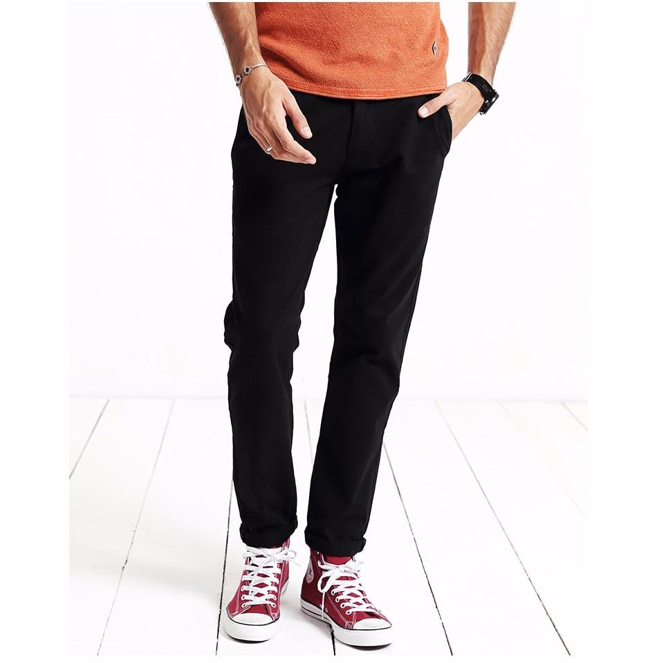 HTB1RmEWXovrK1RjSspcq6zzSXXaN Simwood Brand Autumn Winter New Fashion 2019 Slim Straight Men Casual Pants 100% Pure Cotton Man Trousers Plus Size KX6033