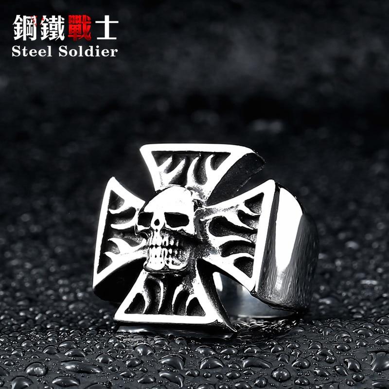 ab4835e9907c Acero soldado hombres Cruz cráneo anillo de acero inoxidable personalidad  punk vendimia de la alta calidad de los hombres de la joyería
