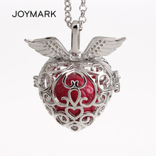 5pcs/lot Double Angle Wings Heart Shape Hollow Cage Mexican Chime Magic Box Bola Sound Ball Pendant Pregnancy Necklaces HCPN47