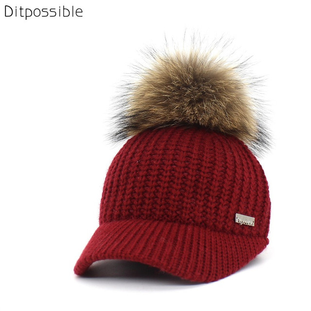 cebb1c96905b2 Ditpossible brand cap women winter hat knitted baseball caps real fur  pompom hat adjustable snapback caps