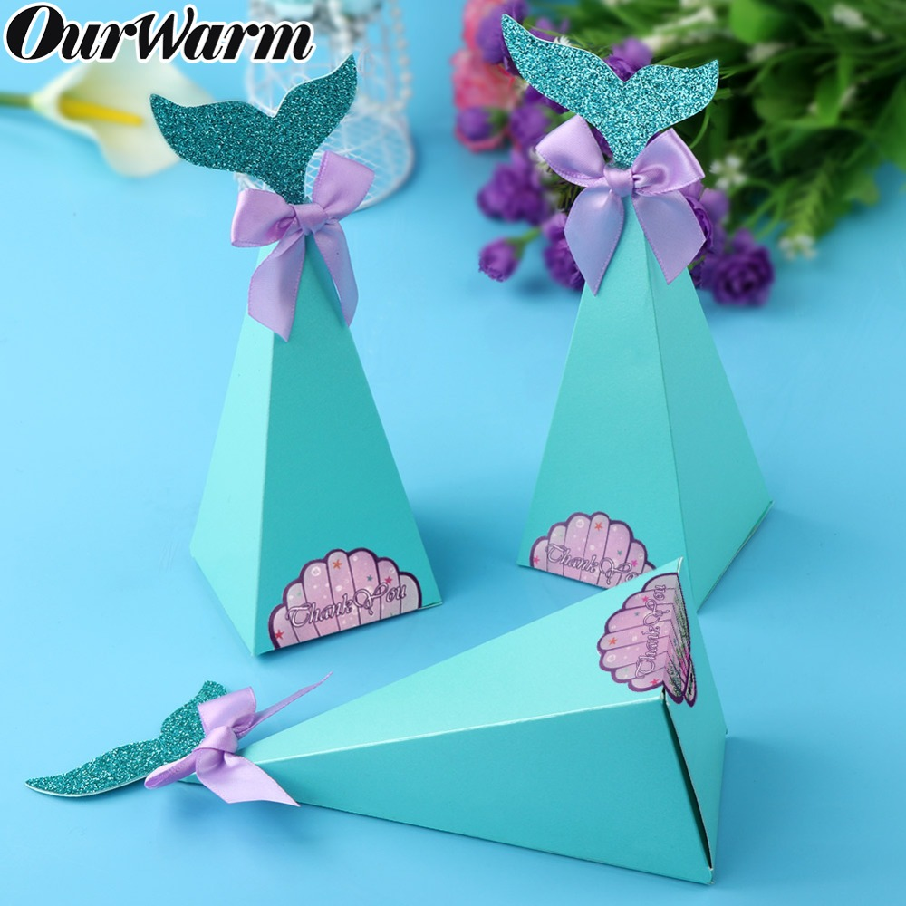 OurWarm 10pcs New Arrival Blue Mermaid Tail Candy Boxes Wedding Little Gift Box Mermaid Theme Party Kids Birthday Candy Bags