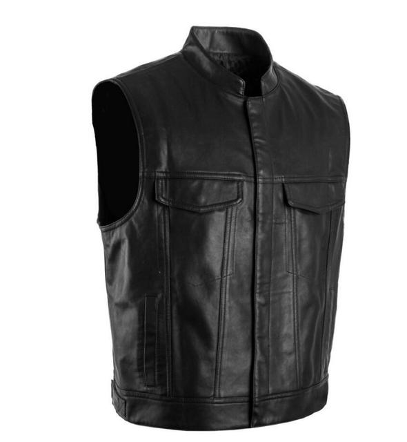 Dropshipping Sons Of Anarchy Black Color Harley Motorcycle Vest Jacket Embroidery Leather Vest Black Punk Vest super cool