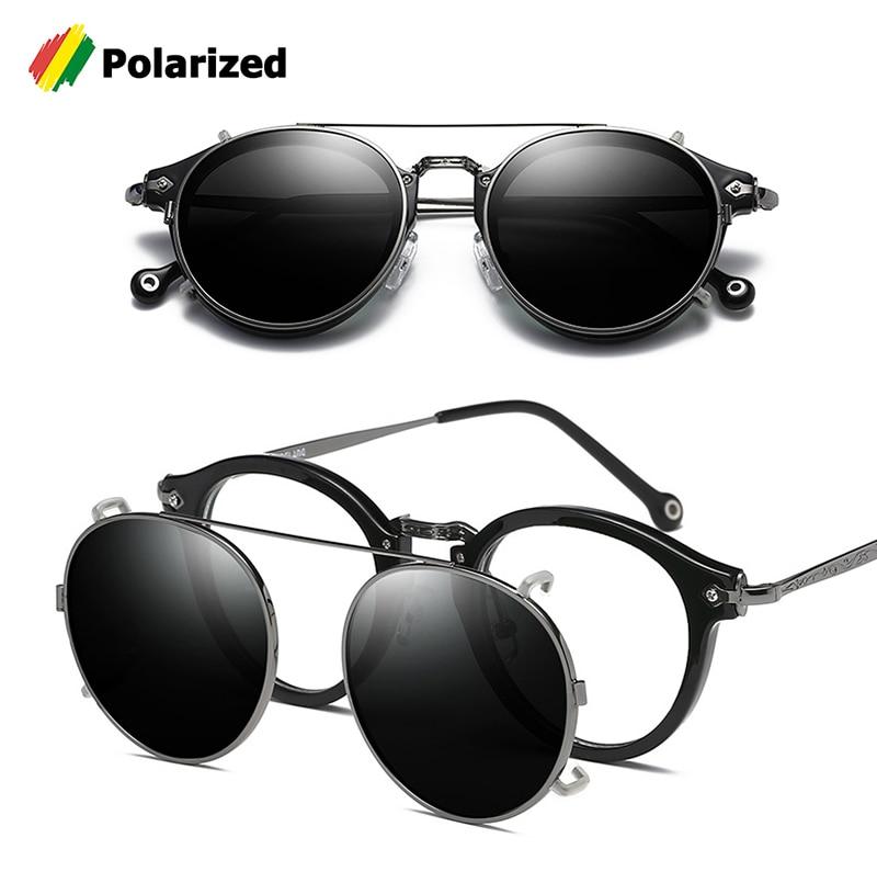 Jackjad steampunk vintage estilo redondo polarizado óculos de sol clipe na lente removível marca designer óculos de sol 2775