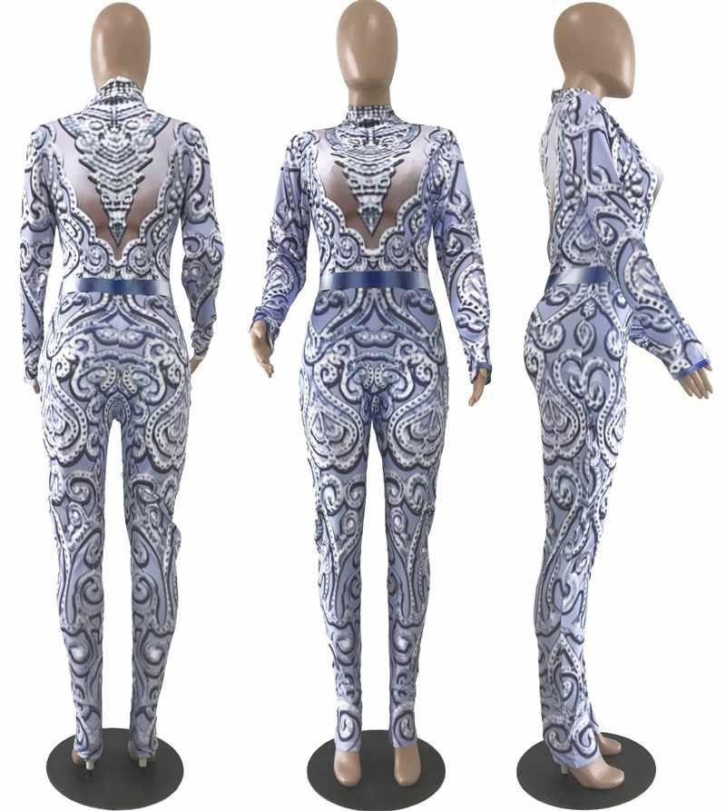 Raisvern синий комбинезон с блестками для женщин с длинным рукавом блестящие облегающие комбинезоны сексуальный комбинезон блестящие Клубные вечерние комбинезоны спецодежда