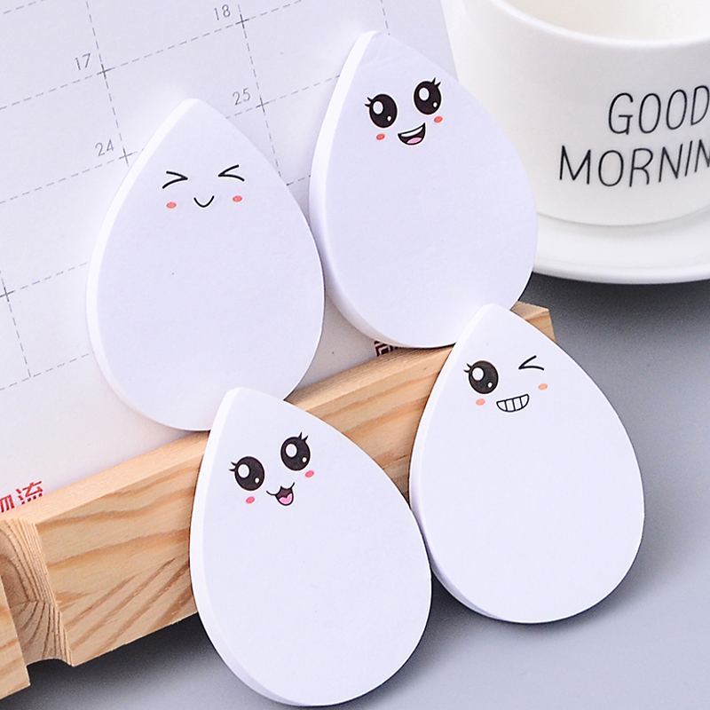 4 Pcs/lot Kawaii Water Droplets Memo Pad Emoji Bookmark Planner Sticker School Supplies Stationery Sticky Notes Notepad