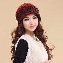5a41309eedaf6 Moda mujer sombreros de punto doble capa de revestimiento de terciopelo lana  caliente casual elegante señora invierno sombrero g.