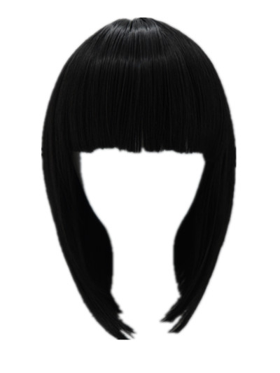 Black Bob Wig Fei-show Synthetic Heat Resistant Fiber Hairpieces Oblique Fringe Bangs Short Wavy Hair Halloween Carnival Hairset Hair Extensions & Wigs