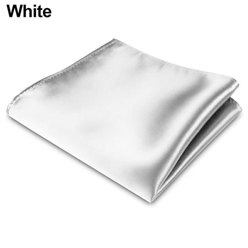 Men's Satin Solid Plain Color Handkerchief Hanky Pocket Square For Wedding Party