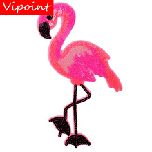 embroidery sequins flamingo patches for jackets,flamingo badges for jeans,applique for coats A241