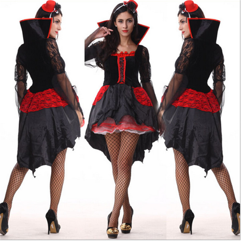 new sexy queen halloween scary costume for women high quality witch vampire adult fancy dress club - Scary Vampire Halloween Costumes