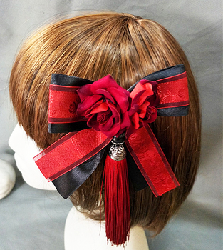 Sweet Lolita Ribbon Bowknot Hairpin Tassel Hair Clip Accessories For Women Headpiece Gothic Japanese Girl Flower Clips Fancy Dre