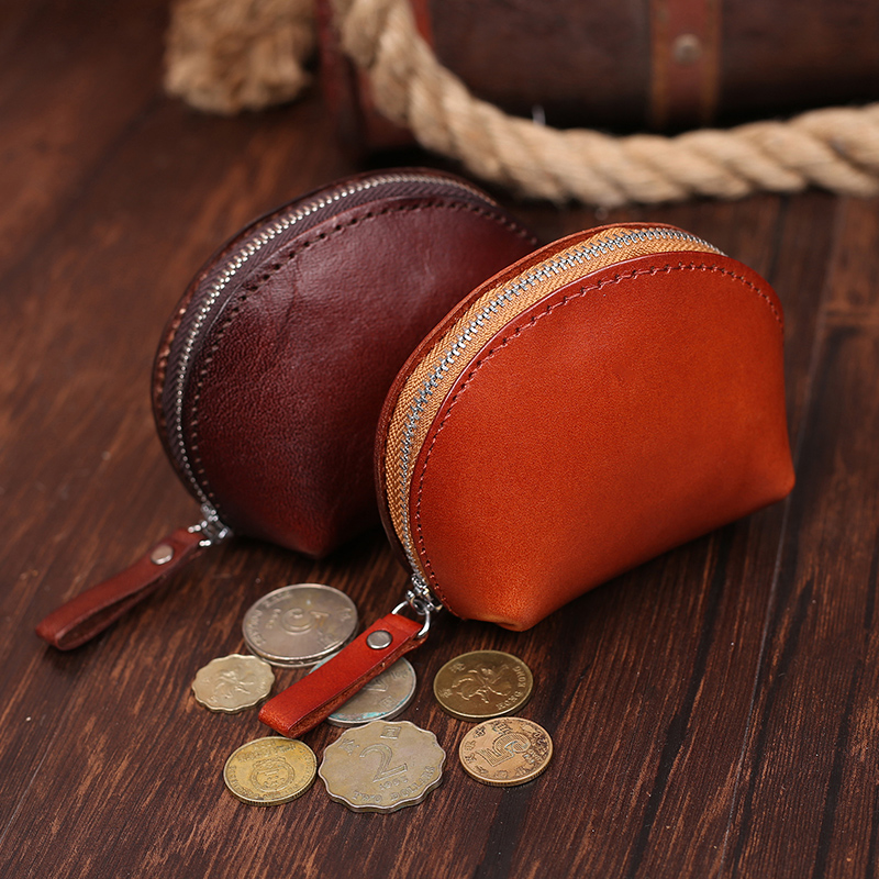 Fashion Genuine Leather Womens Coin Purse Small Wallet Zipper Vegetable Tanned Leather Shell Coin Pocket Brown Coffee #BK005