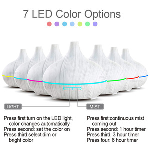 Image 2 - KBAYBO 300ml Electric Humidifier Aroma Oil Diffuser Ultrasonic White Wood Grain Air Purifier with 7 colors LED Lights for home