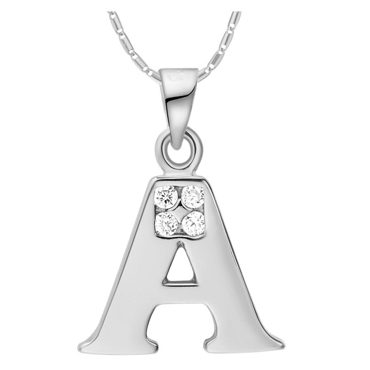 Women Men Letter A B C D E F G H I J K L M N O P Q R S T U V W X Y Z Pendants Necklaces 18 k White Gold Crystal Alphabet Jewelry