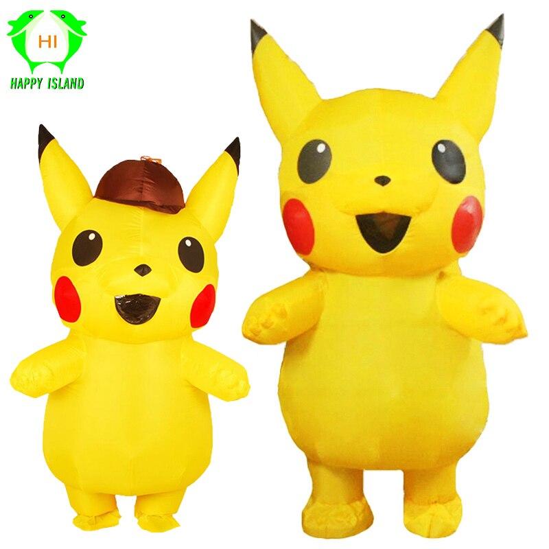 Costumes gonflables Pikachu Halloween Cosplay grand Costume de mascotte Pokemon pour enfants adultes hommes femmes fête Costume gonflable