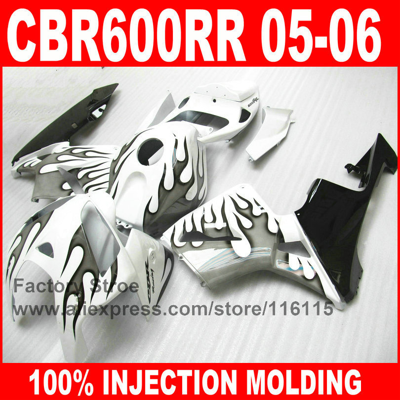 Custom Injection motorcycle fairings for HONDA 2005 2006 CBR 600 RR CBR600RR 05 06 black flame in white motorcycle fairing kit arashi motorcycle parts radiator grille protective cover grill guard protector for 2003 2004 2005 2006 honda cbr600rr cbr 600 rr