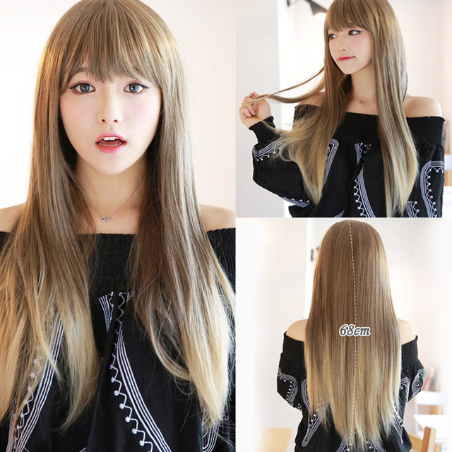 Cheap Hair With Bangs Synthetic Straight Long Blonde Ombre Wig For Women Cheap Wigs For Sale
