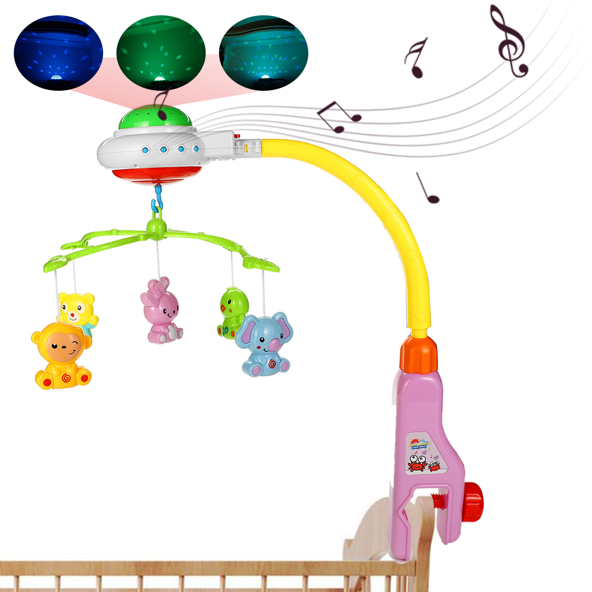 Baby Rattles & Mobiles Nice Projection Light Baby Crib Mobile Bed Bell Rattle Toys Wind Chimes Tent Hanging Decorations For Kids Newborn Gifts Nursery Decor