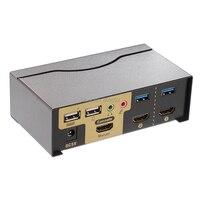 มืออาชีพโลหะUSB HDMI KVM Switch 2พอร์ตHDMI USB3.0กับเสียงS Plitterแป้นพิมพ์เมาส์1080จุด3D Switcher