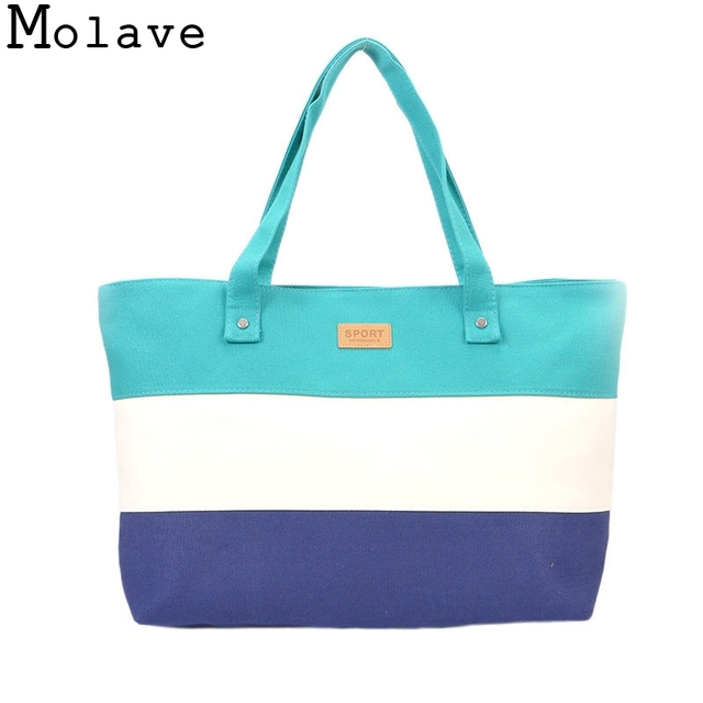 610ea1ab62 2017 Fashion Women Striped Panelled Shoulder Canvas Bag Large Tote Purse  Bag Handbags Beach Bag Messenger Zipper Simple Handbag