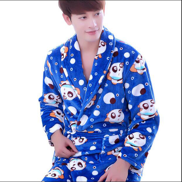 0cab387b808 Winter Cotton Bathrobes For Men Long Sleeve Flannel Cartoon Robe Bath Gown  Nightgown Sleepwear Male Homewear