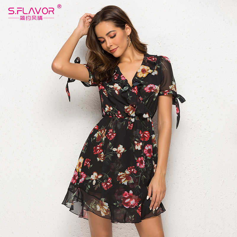 S. FLAVOR, летнее шифоновое сексуальное платье с цветочным принтом, женское платье с коротким рукавом, повседневные богемные пляжные вечерние платья, мини-платье с v-образным вырезом и рюшами