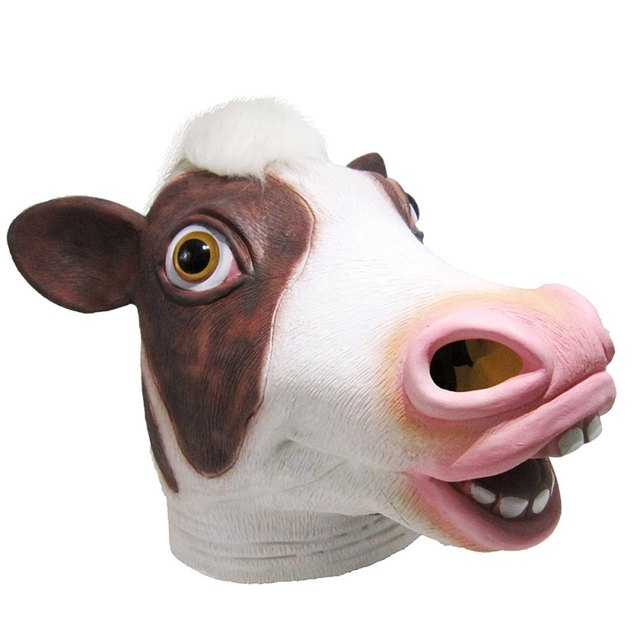 mask latex deluxe novelty halloween costume party squirrel female cow animal head mask