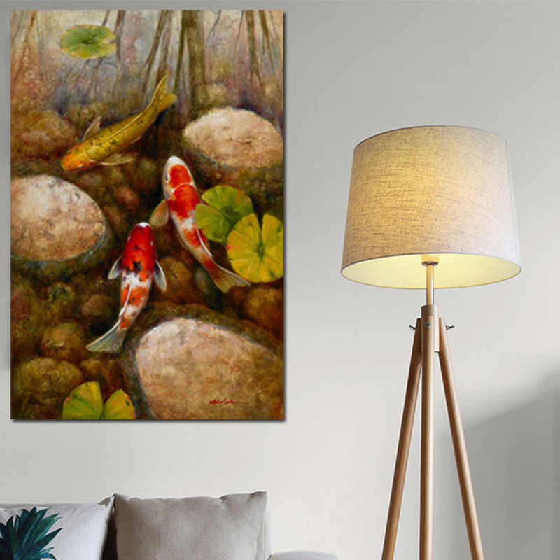 Chinese Koi Fish Lotus Stone Canvas Prints Feng Shui Animal Landscape Painting Wall Art Picture For Living Room Moder Home decor