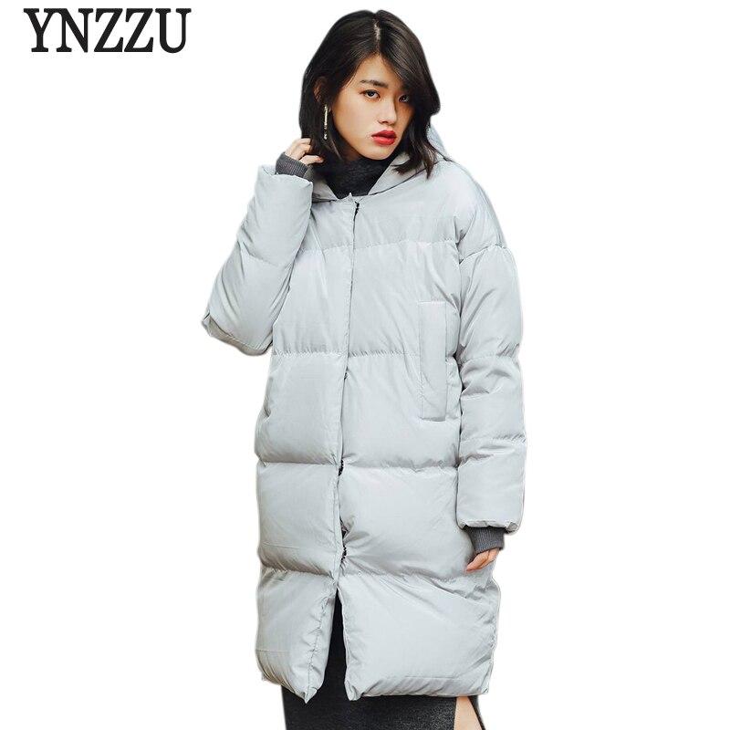 YNZZU Korean Style New Winter Womens Down Jacket Solid Gray Mid-Length Thick Warm Hooded Casual Down Coat Bread Parka YO454
