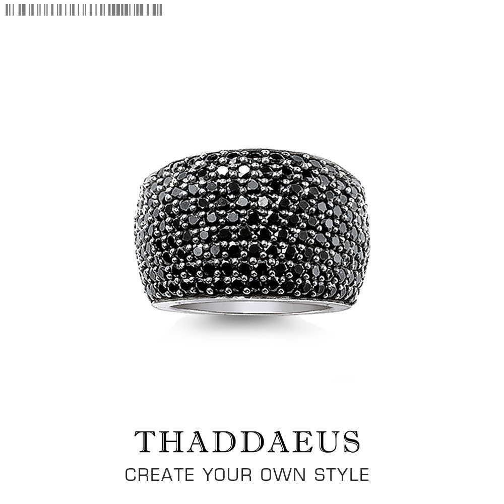 Zwart Pave Cocktail Ring,Thomas Stijl Mode Goede Jewerly Voor Vrouwen Mannen, 2020 Lente Ts Gift In 925 Sterling Zilver, Super Deals