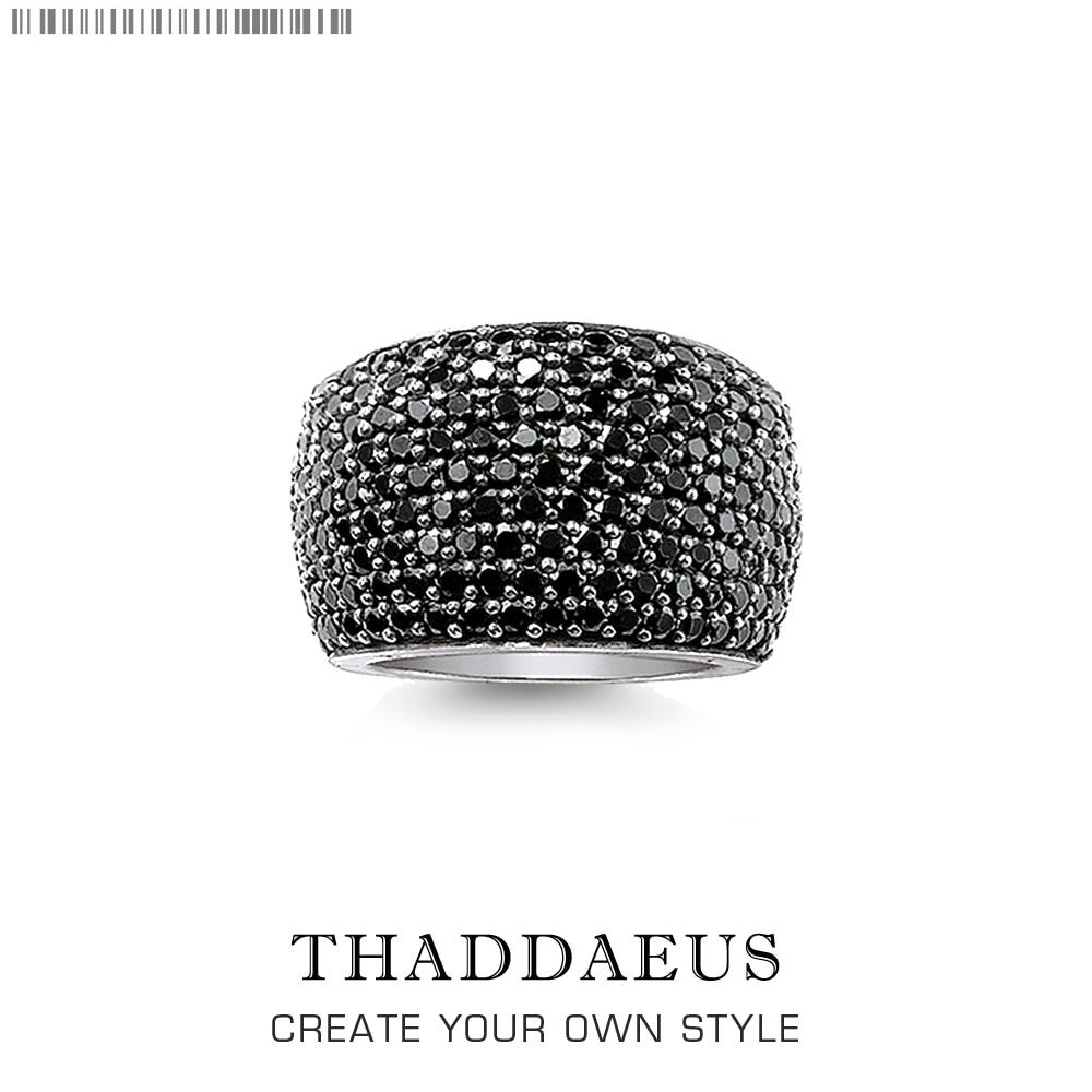 Anillo de cóctel negro Pave, joyería buena de moda de estilo Thomas para mujeres y hombres, regalo de Primavera de 2020 Ts en plata de ley 925, Super ofertas
