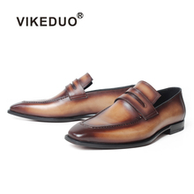 VIKEDUO 2019 Summer New Loafer Shoes Slip-On Patina Brown Leather Sole Mens Genuine Casual Footwear Wedding Zapato