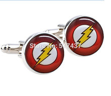 1 pair wholesale men shirt cuffs button Flash Cufflinks Men Accessories Superhero Cuff Links for Men photo cuff link