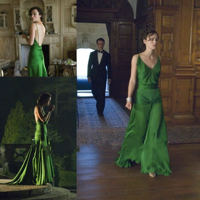 2017 Elegant Green V Neck Backless Long Celebrity Dresses on Keira knightley from the Movie Court Train Formal Gowns for Women