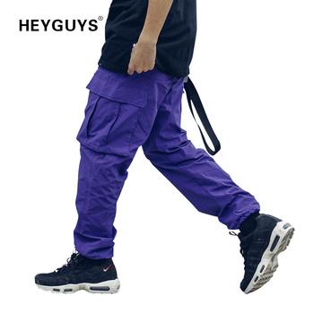 HEYGUYS 2019 nowe luźne długie spodnie męskie spodnie bojówki luźne spodnie moda dopasowane dna odzież uliczna hip hop kieszonkowe spodnie fioletowe tanie i dobre opinie Pełnej długości Cargo pants Na co dzień REGULAR COTTON Midweight Mieszkanie Suknem Elastyczny pas Kieszenie M L XL