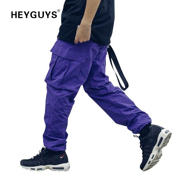 HEYGUYS 2019 新ルースロングパンツカーゴパンツバギズボンファッションフィット底ストリート着用ポケットパンツ紫