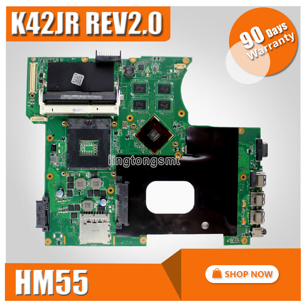 SAMXINNO K42JR REV2.0 HM55 Mianboard For Asus K42JR A42J K42J X42J laptop Motherboard REV2.0 HM55 DDR3 Mainboard 100% Tested