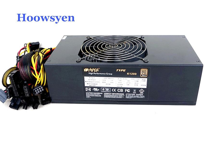 Добыча случае Eth тире шахтеров источника питания 1200 Вт ATX сервер мощность 4 P 6 P 8 P 24 P разъемы для использования 1060/1050/160/460 6 GPU карты
