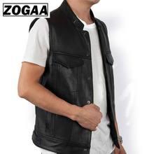 ZOGGA 2019 Men Vest Black Biker Motorcycle Hip Hop Waistcoat Male Faux Leather Punk Solid Black Spring Sleeveless Leather VestVests & Waistcoats