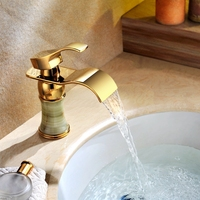 single handle waterfall basin faucet copper single hole faucet bathroom faucet retro for Ti PVD , Bathroom Sink Faucet
