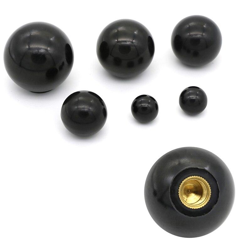 Black Plastic M4/M5/M6/M8/M10/M12 Thread Ball Shaped Head Clamping Nuts Knob