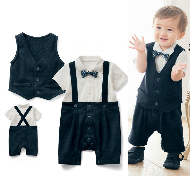 5setslot popular baby boy suit vest baby romper with bowknot wedding special occasion christening tuxedo formal clothesin clothing sets from mother