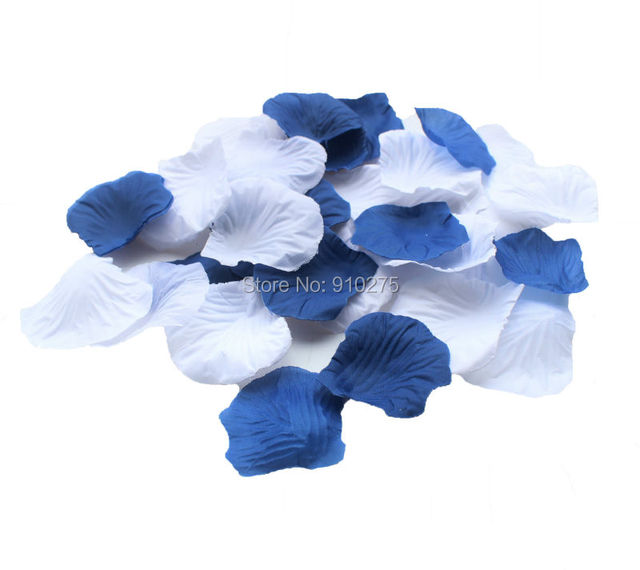 600pcs Mixed Royal Blue White Silk Rose Petals Table Confetti Wedding Centerpieces Party Bridal Shower